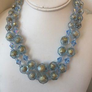 Vintage 2 strand blue beaded necklace